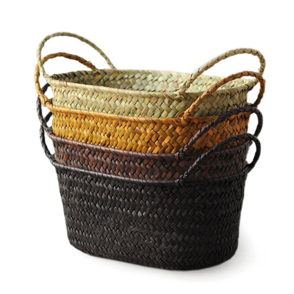 New Handmade DIY Straw Flower Pot Basket Fruit Sundries Organizer Rattan Plant Box Basket Storage Storage Containers