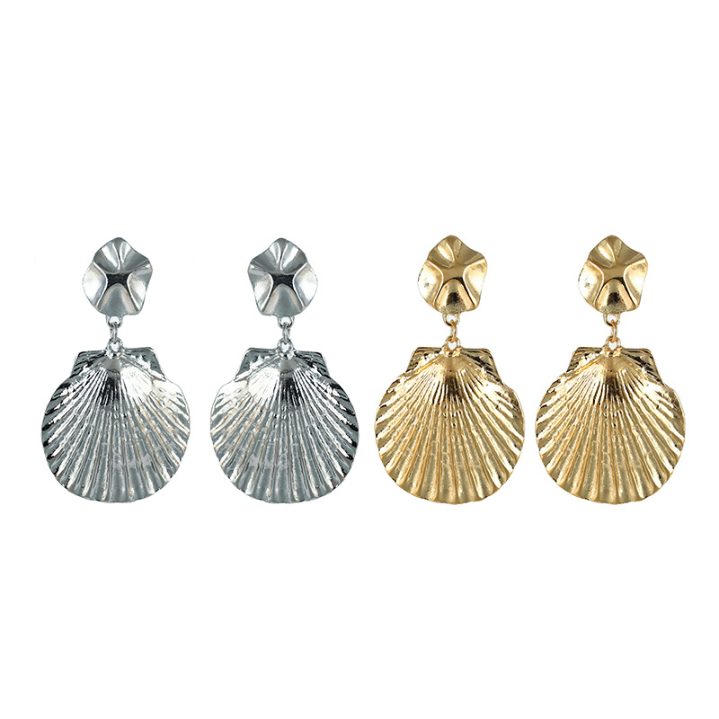 Bohemian Style Earrings Big Alloy Shell Earrings Female Europe And The United States Exaggerated Large Shell Pendant Earrings