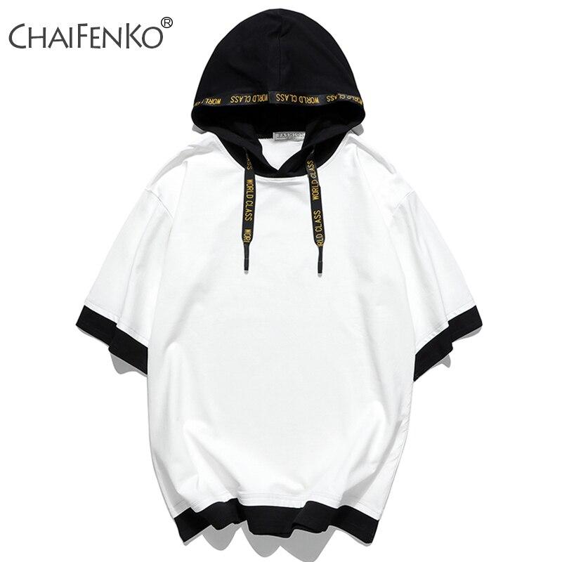 CHAIFENKO 2020 New Hot Street Hip Hop Hooded Cotton Men T-Shirts Summer Loose Leisure Short Sleeve T-Shirts Men Fashion Trends