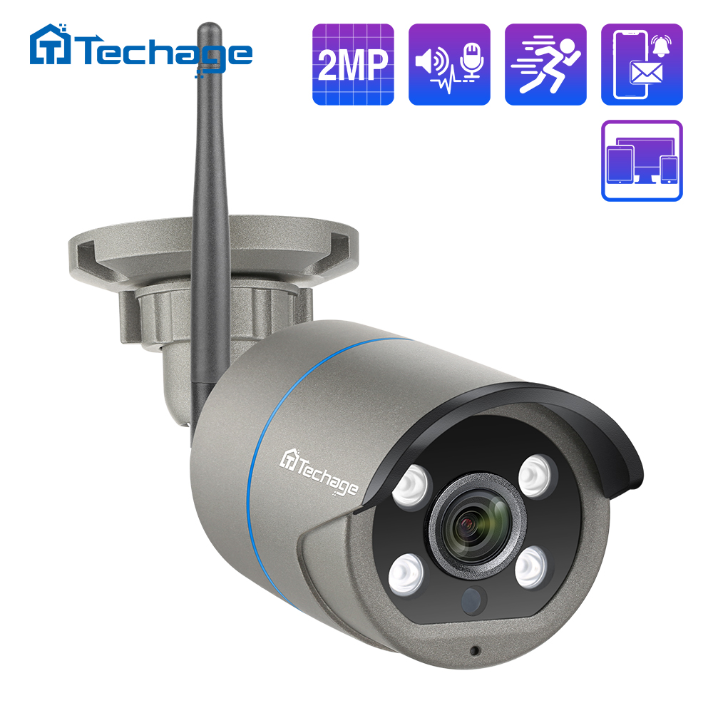 Techage 1080P 2MP Wireless IP Camera Outdoor Waterproof Security Audio WiFi Camera for Wireless CCTV System Kit IP Pro APP View