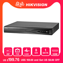 Hikvision 8ch CCTV Recorder PoE NVR DS-7608NI-K1/8P 8 Channel Embedded Plug&Play 4K Network Video Recorder with 8 PoE Port H.265
