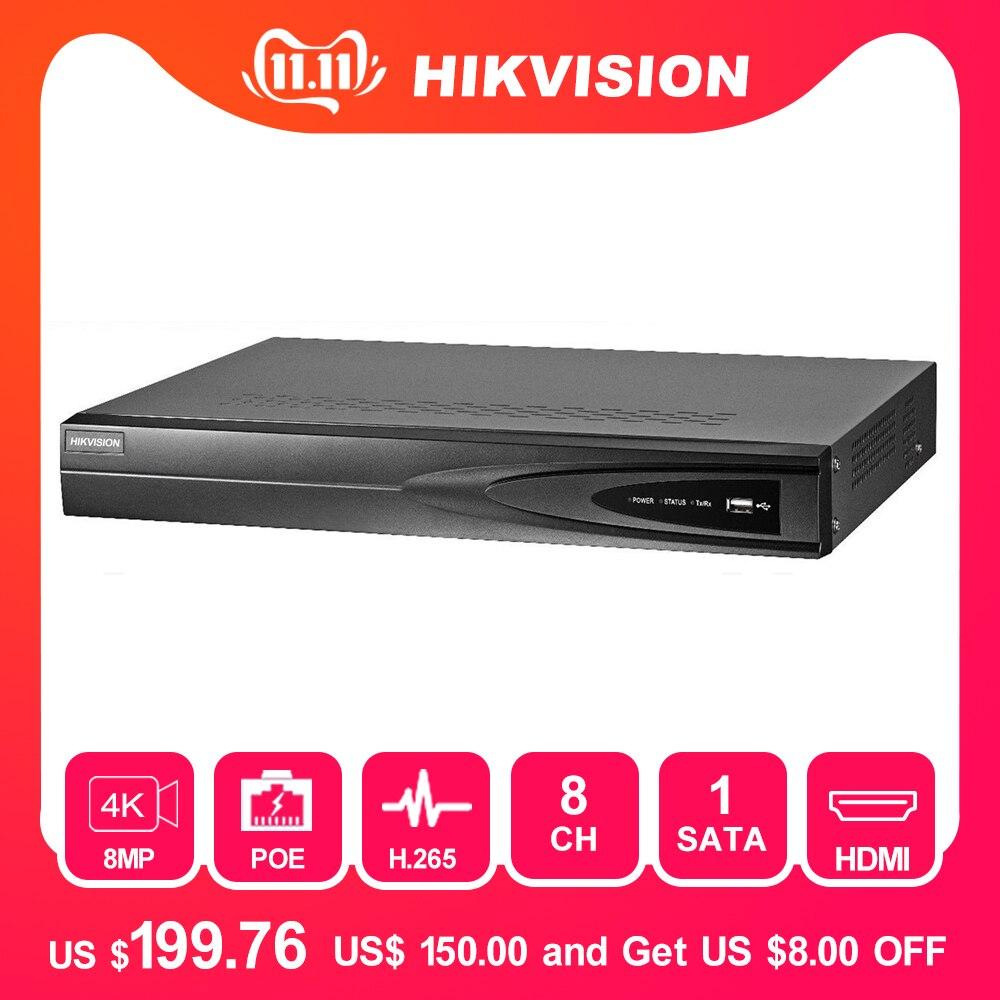 Hikvision 8ch cctv recorder poe nvr DS-7608NI-K1/8 p 8 canais incorporado plug & play 4 k gravador de vídeo em rede com 8 poe porto h.265