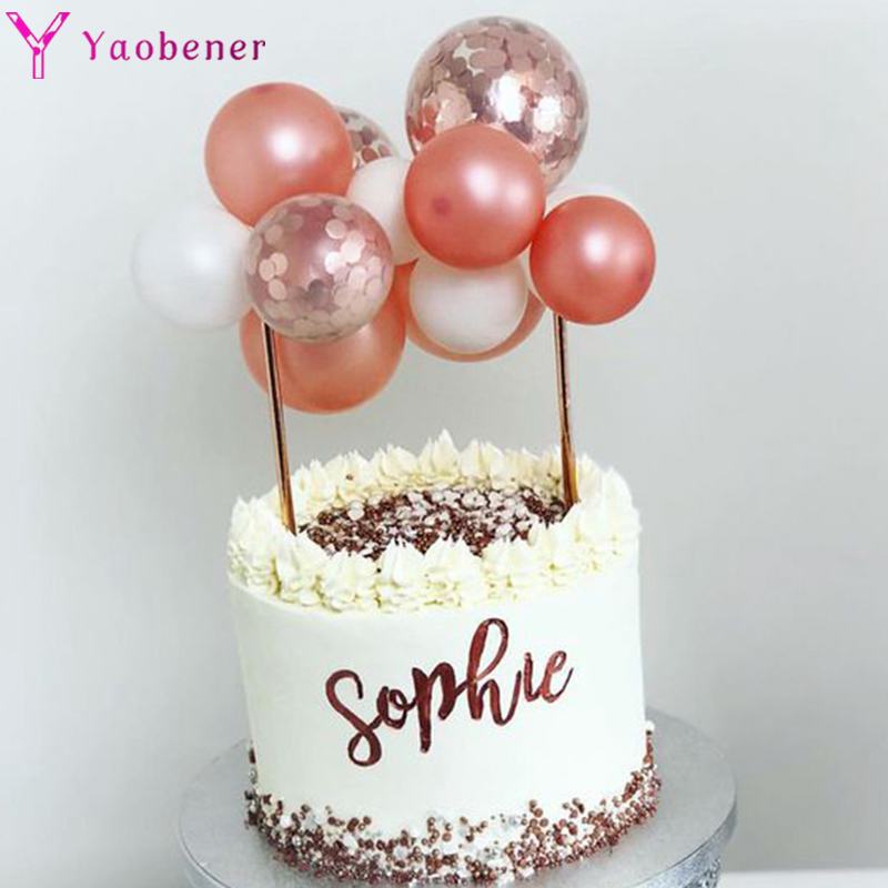 15pcs Balloons Cake Topper 1st <font><b>1</b></font> 2 3 4 5 18 21st 30 40 50 Years Happy <font><b>Birthday</b></font> Party <font><b>Decorations</b></font> Adult Kids Boy <font><b>Girl</b></font> Babyshower image