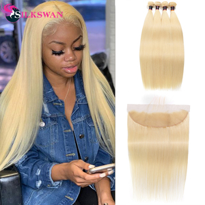 Silkswan Hair 28 30 Inch Brazilian Straight Hair Bundles With Frontal Remy Hair Extensions Natural color & #613 Bundle(China)