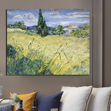Van Gogh Green Wheat Field With Cypress Canvas Painting Living Room Home Decoration Modern Wall Art Oil Posters Picture