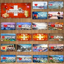 30X15CM  City Country  License Plate Travel Souvenir Vintage Metal Sign Bar Wall  Home Shop Decor  Plaques Poster DC-1120B