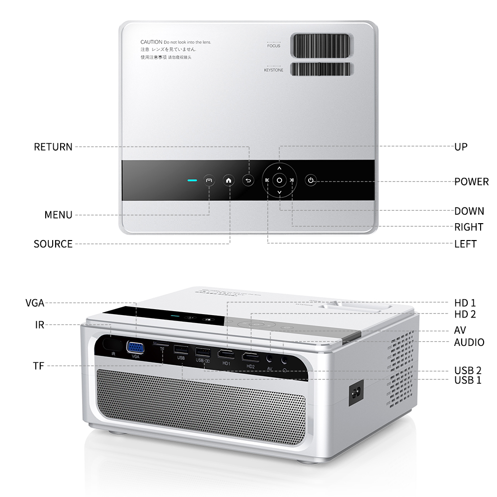 UNIC CP600 1280x720P LED 8000 Lumens Projector 1080P Full HD HDMI WIFI LCD Home Theater Movie Beamer Android Proyector 6