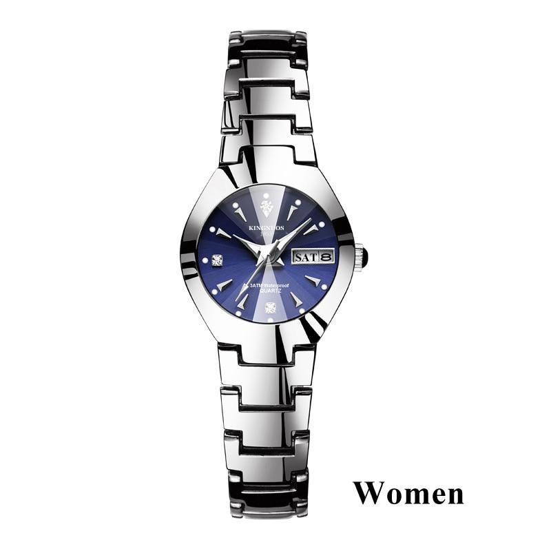 Часы для влюбленных Роскошные Кварцевые наручные часы для мужчин и женщин Hodinky Dual Calender Week steel Saat Reloj Mujer Hombre парные часы - Цвет: Women Silver Blue