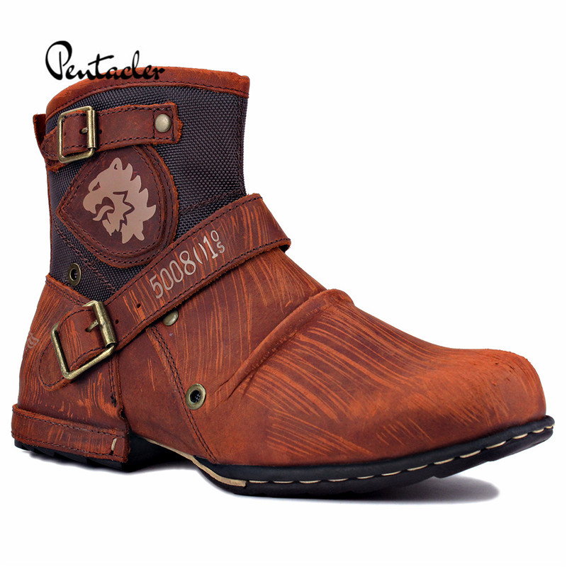 Handmade Retro genuine Leather Buckle Handmade motorcycle boots Large size military tooling embroidery boots