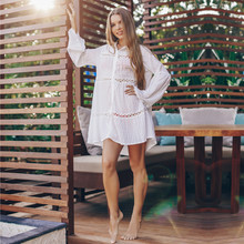Bikini Cover-ups Sexy See Through Front Open Beach Tops White Lace Tunic Women Beachwear Bathing Suit Cover Up Sarongs Q1048(China)
