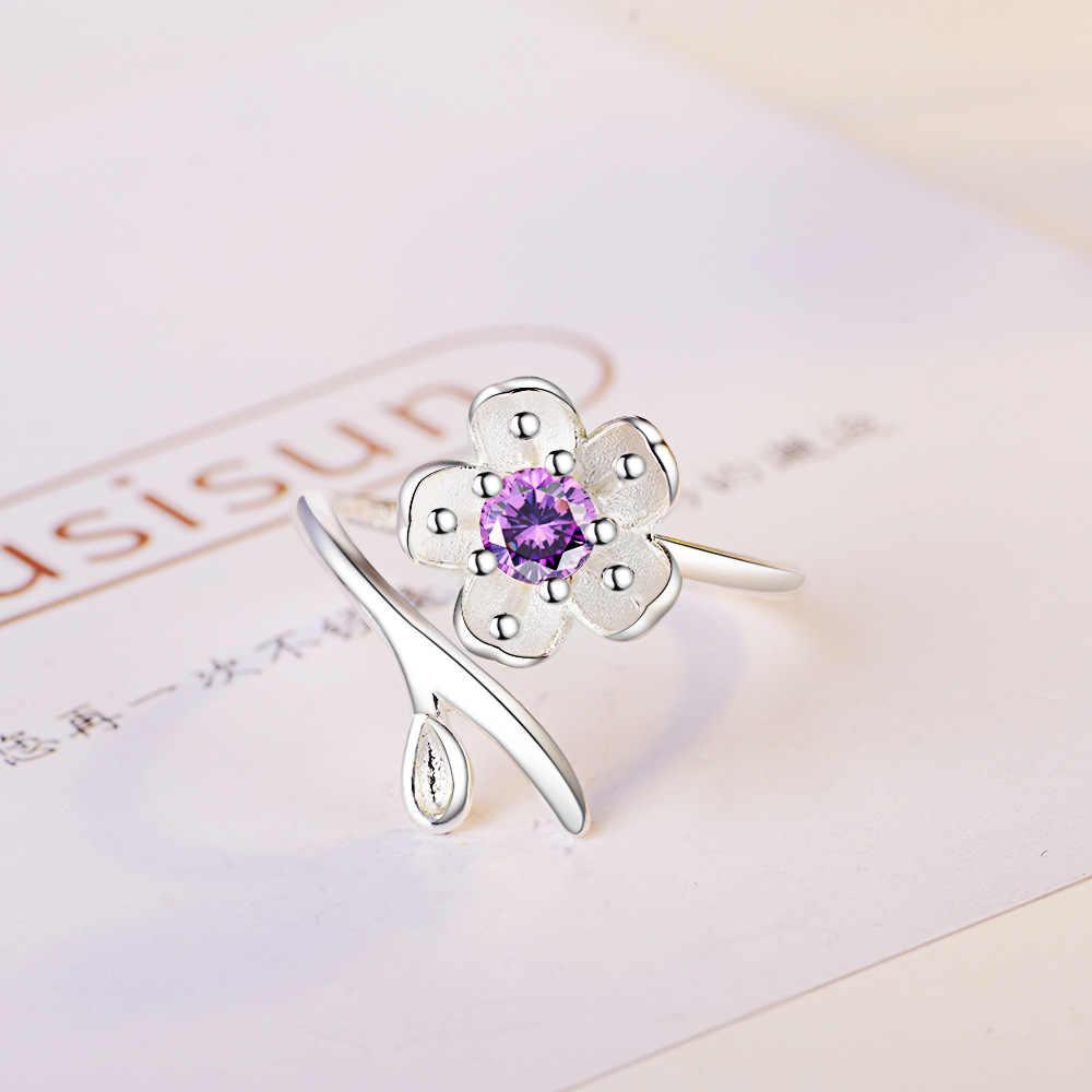 แฟชั่นผู้หญิงคริสตัลสีม่วง CZ แหวน 925 เงินน่ารักสีม่วงพีช Blossom งานแต่งงานแหวนปรับแหวน