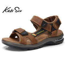Été hommes sandales en cuir véritable hommes pantoufles gladiateur hommes plage sandales doux confortable en plein air Wading chaussures grande taille 47