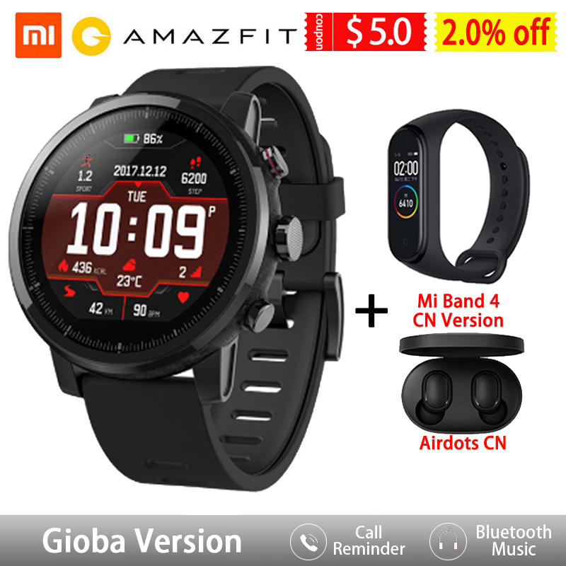 Amazfit Stratos Smart Watch GPS 5ATM Waterproof 2.5D GPS Heart Rate Monitor Sport Swimming Smartwatch Xiaomi Ecosystem Product