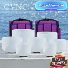 """CVNC 6 """" 12"""" ensemble de 7 pièces bol chantant en cristal de Quartz givré avec sacs de transport gratuits"""