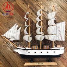 LUCKK 33CM Nautical Figurine Wooden SailBoat Ship Wood Crafts Handmade Retro Model Sailing Birthday Kids Gifts Home Decor