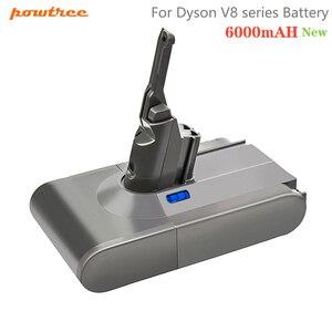 Powtree 6000mah 21.6v v8 bateria para dyson v8 baterias absoluta v8 animal li-ion sv10 aspirador de pó bateria recarregável