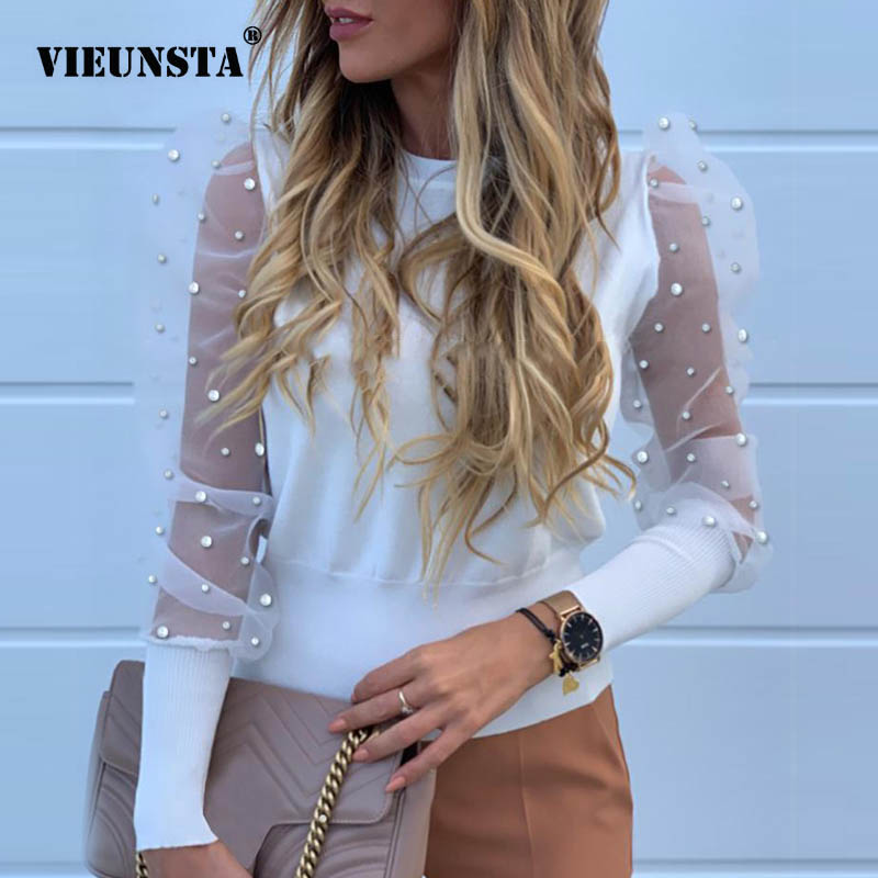 New Women Mesh Sheer Blouse See-through Puff Long Sleeve Blouse Fashion Pearl Transparent White Shirt Female Blusas Autumn Tops