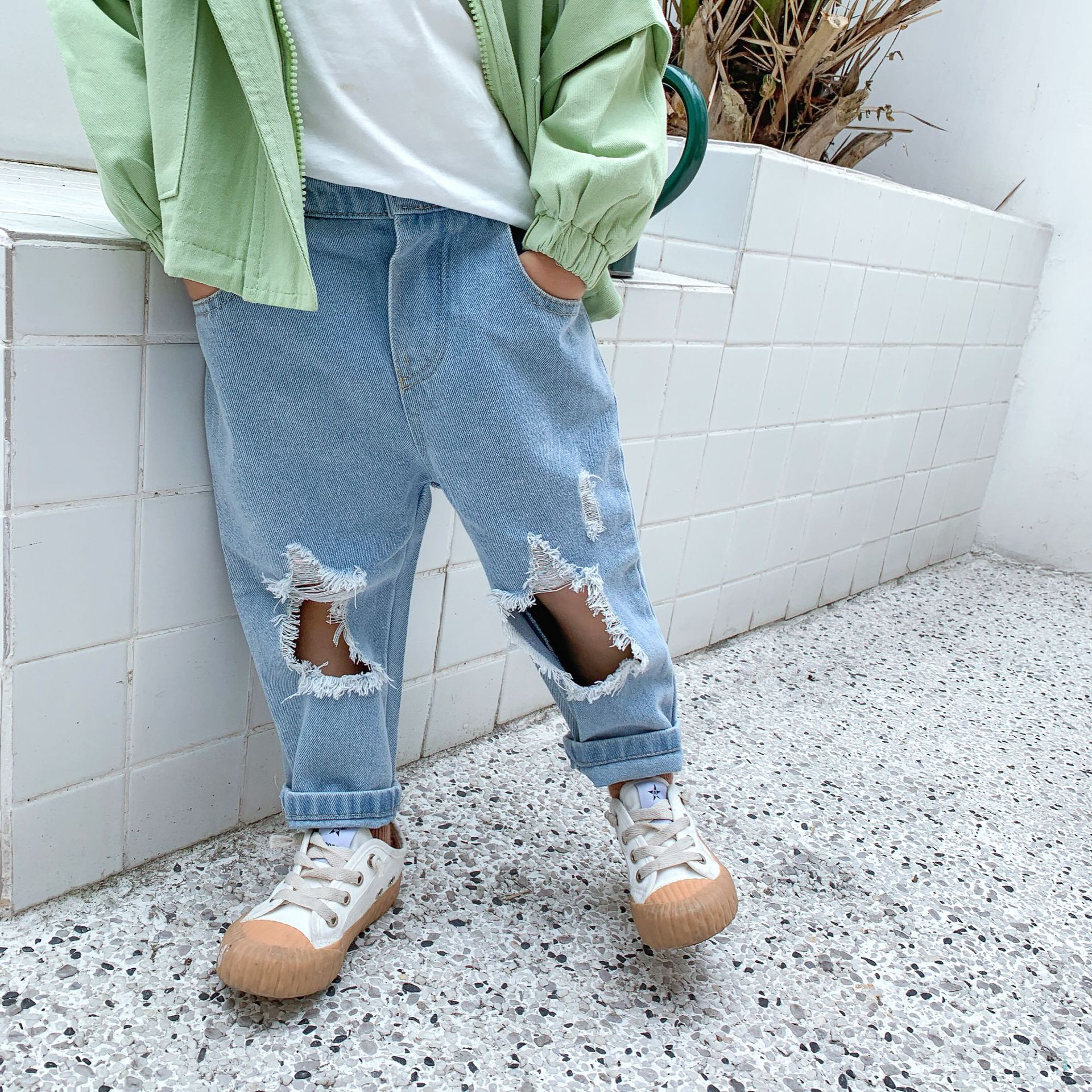 3228 Children's Pants 2020 Spring New Boys And Girls' Korean Wide Leg Pants With Hole Pocket Jeans Pants