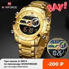 NAVIFORCE Relógio de Pulso Militar Esportivo Masculino Relógio Dourado de Quartzo de Aço à Prova d'Água com Mostrador Duplo Relógio Masculino 9163