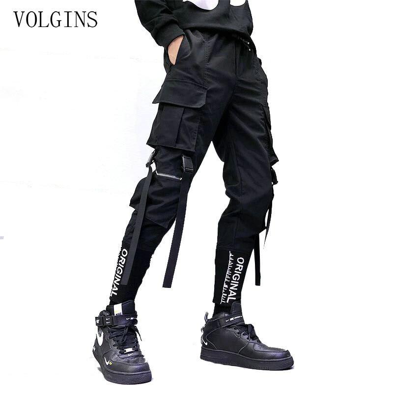 Harem-Pants Ribbons Pockets Joggers Spring Slim-Fit Streetwear Hip-Hop Black Men Summer