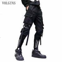 Streetwear rubans poches sarouel hommes printemps été pantalon de survêtement décontracté Hip Hop Joggers coupe ajustée noir hommes crayon pantalon