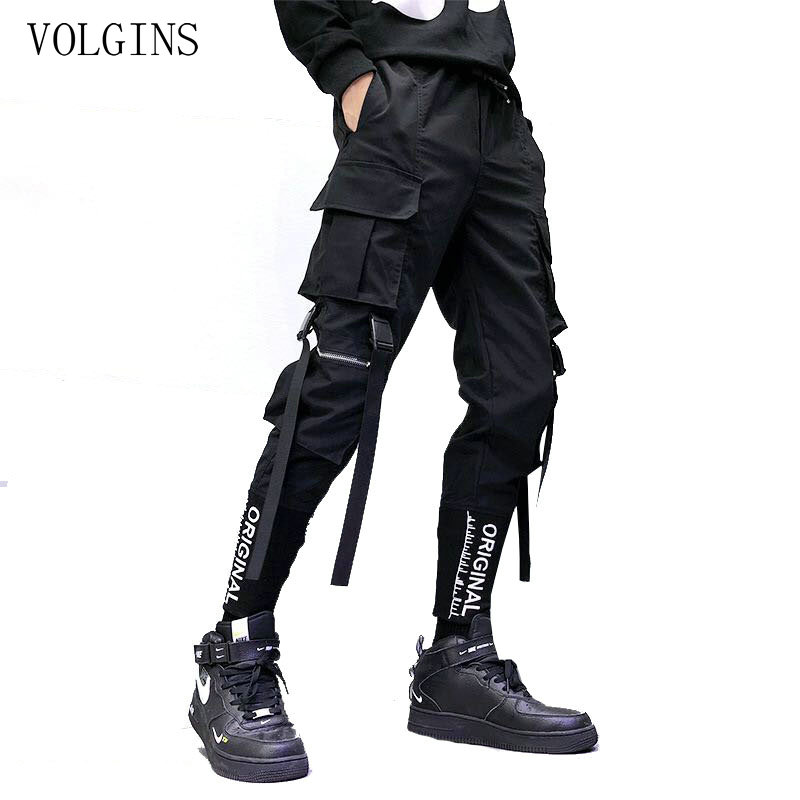Streetwear Bänder Taschen Harem Hosen Männer Frühling Sommer Casual Jogginghose Hip Hop Joggers Slim Fit Schwarz Männer Bleistift Hosen