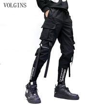 Pantalon crayon décontracté avec rubans, coupe ajustée, noir, pour homme, survêtement, type sarouel, style hip-hop et urbain, pour jogging, collection printemps/été