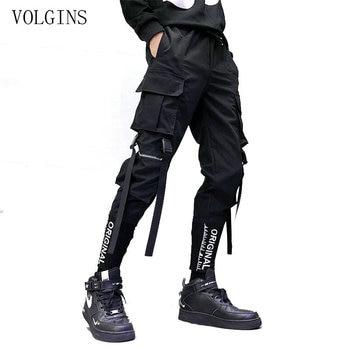 Streetwear Ribbons Pockets Harem Pants Men Spring Summer Casual Sweatpants Hip Hop Joggers Slim Fit Black Men Pencil Pants