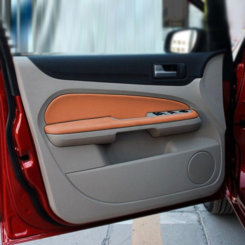 4pcs Car Door Handle Armrest Panel Microfiber Leather Cover Interior Trim For Ford Focus 2005 2006 2007 2008