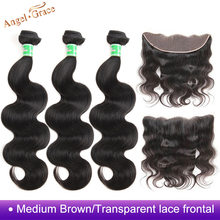 Angel Grace Brazilian Body Wave Bundles With 13*4 Brown/Transparent Lace Frontal Closure Remy Human Hair 3 Bundles With Frontal(China)