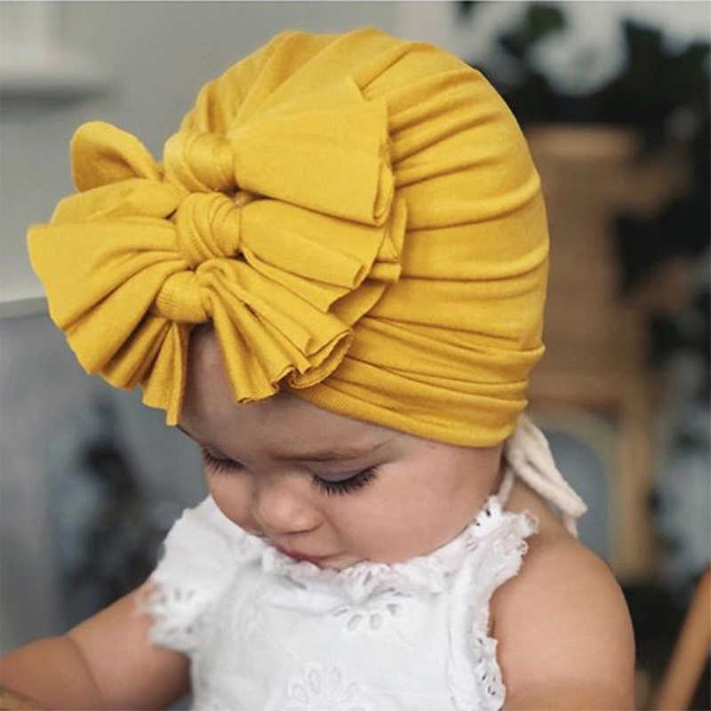 Baby Headband Hat Stretchy Turban Bowknot Print Cotton Headband Infant Head Wrap Beanie Hat Girls Headwear Baby Hair Accessories