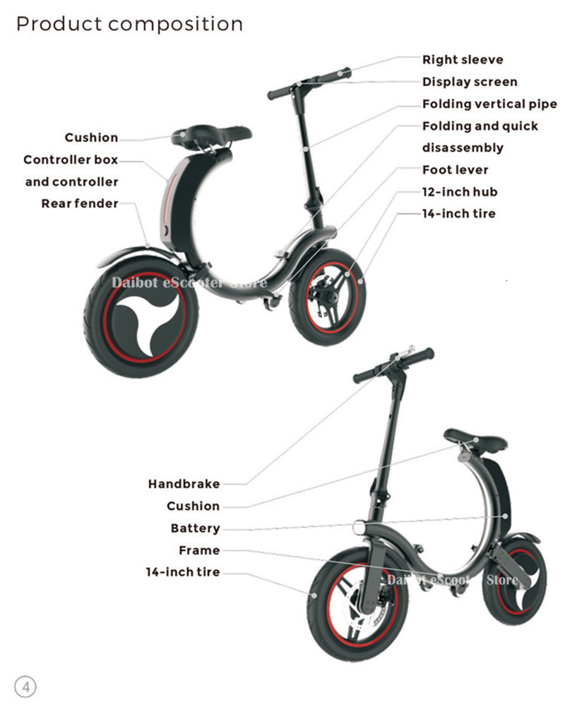 14 Inch Folding Electric Scooter 2 Wheel Electric Scooters 500W Portable Electic Bike with APP (13)