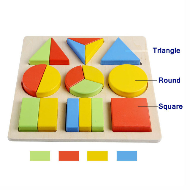 2019 New Children Wooden Puzzle Montessori Materials Geometric Shape Color Learning Toy Early Education Toys for Kids MG-J05