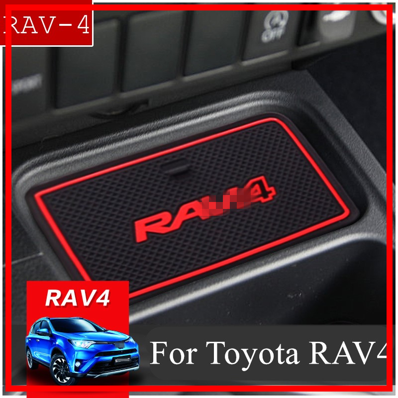 Anti-Slip Gate Slot Mat Rubber Coaster for <font><b>Toyota</b></font> <font><b>RAV4</b></font> 2016 2017 <font><b>2018</b></font> Facelift XA40 RAV 4 Hybrid <font><b>Accessories</b></font> Car Sticker Styling image