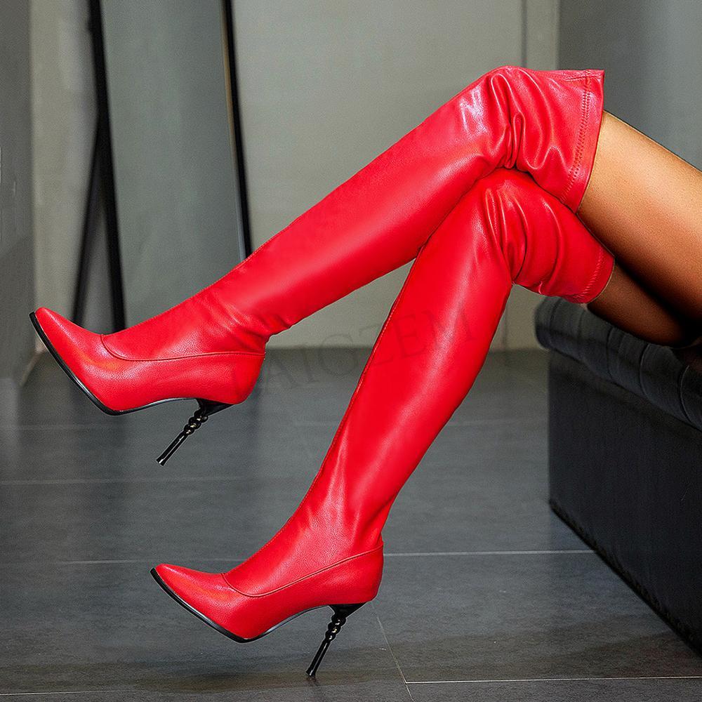 LAIGZEM-bottes dhiver en Faux cuir pour femmes, talons en métal, bottes extensibles, à enfiler, tailles 46 47 48