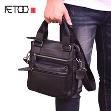 где купить AETOO Men's leather bag, vertical business casual shoulder-length span bag, head leather men's briefcase по лучшей цене