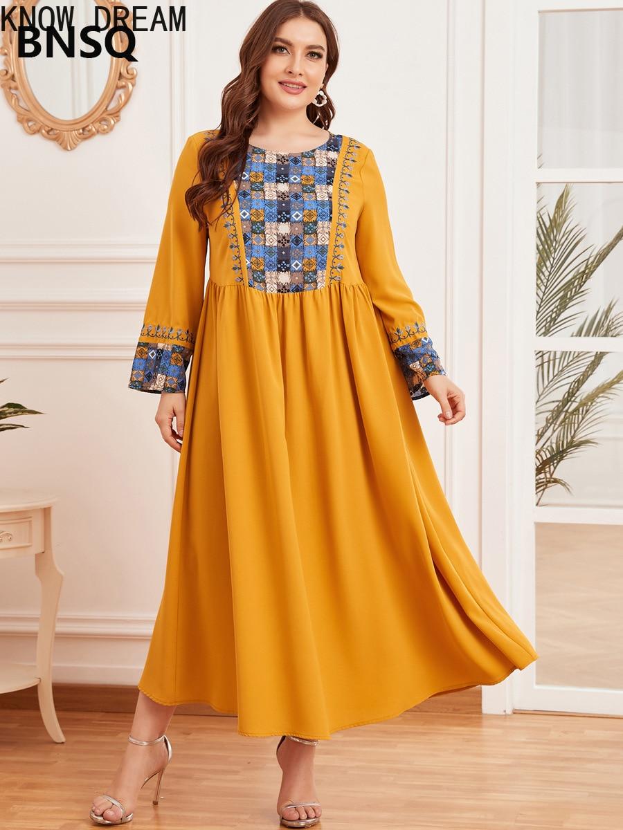 Узнайте сон большая женская мода вышивка мусульманских длинная юбка большой драпированное платье костюмы для женщин