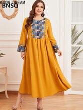 Conheça sonho grande moda feminina bordado muçulmano saia longa grande vestido drapeado roupas femininas