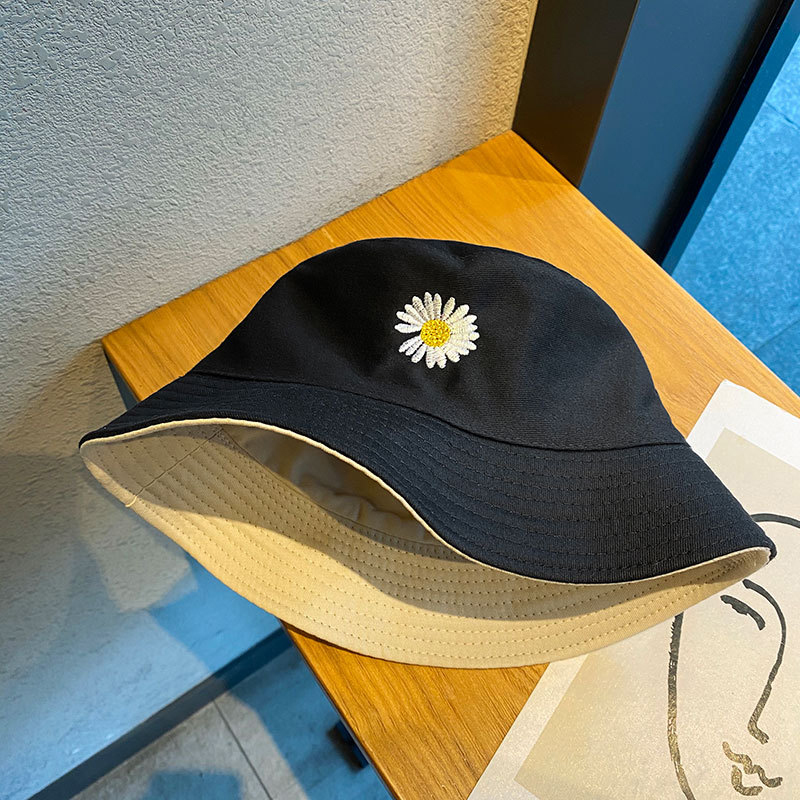 Spring women Bucket fishing Hats Sunscreen sun cap Little daisies Double sided wear Spring lady fisherman hat