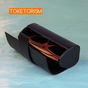 Image 4 - Toketorism vintage handmade glasses box sunglasses bags stylish artificial leather boxes