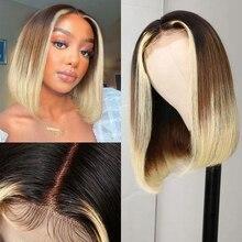 13x4 bob curto frente do laço peruca de cabelo humano preto gradiente marrom gradiente loiro 9a cabelo viking brasileiro tem linha fina natural