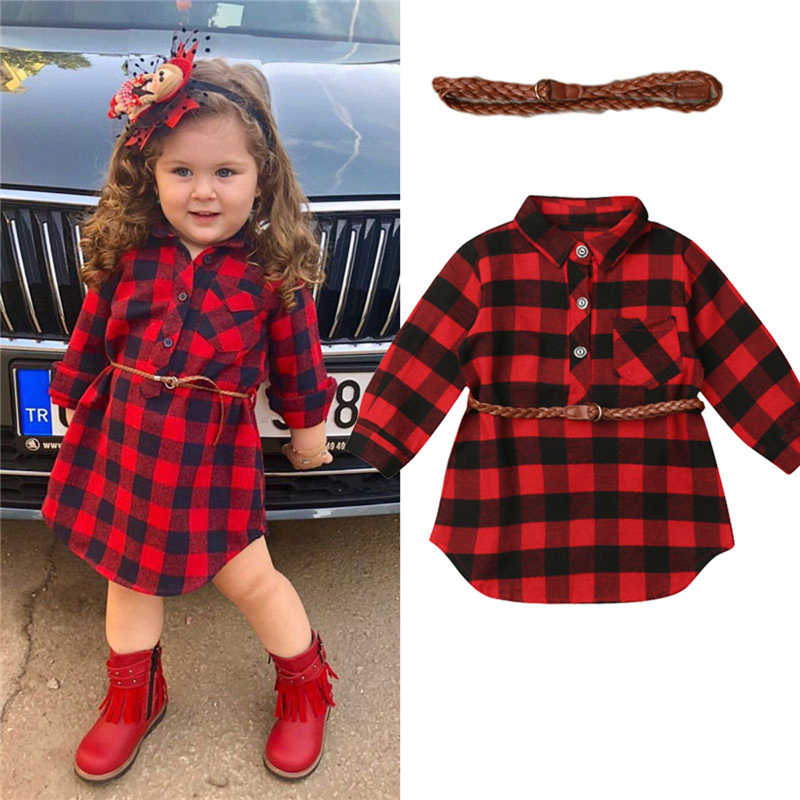 Newborn Toddler Baby Girls Dress Princess Dress Red Plaid Shirt Dress with Belt Outfits Baby Girls Dress