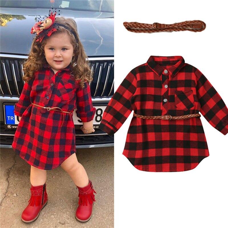 Vestido de princesa para niñas pequeñas recién nacidas vestido de camisa a cuadros rojo con cinturón vestido para niñas Trajes de primavera para niñas, niñas, raglans florales con cinturón, jeans, ropa de verano para bebés y niños