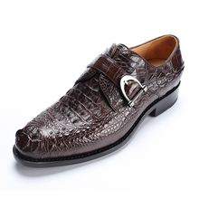 New Black Brown Business Work Genuine Crocodile Leather Shoes Men Pointed Toe Dress Shoes Party Wedding Office Footwear(China)