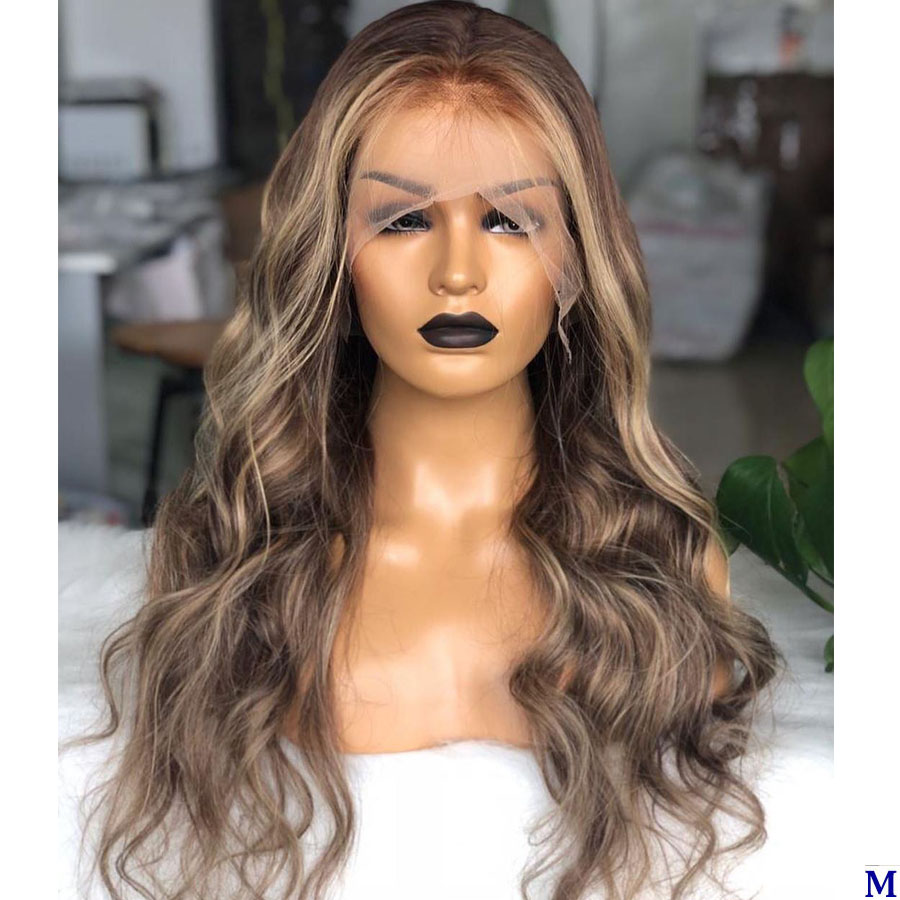 Peruvian Highlight 13x6 Lace Front Human Hair Wigs with Baby Hair 150Density 4x4 Silk Base Lace Front Wigs Pre Plucked Hairline