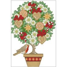 Цветочное дерево и птица 1 узор Счетный крест 11ct 14ct 18ct