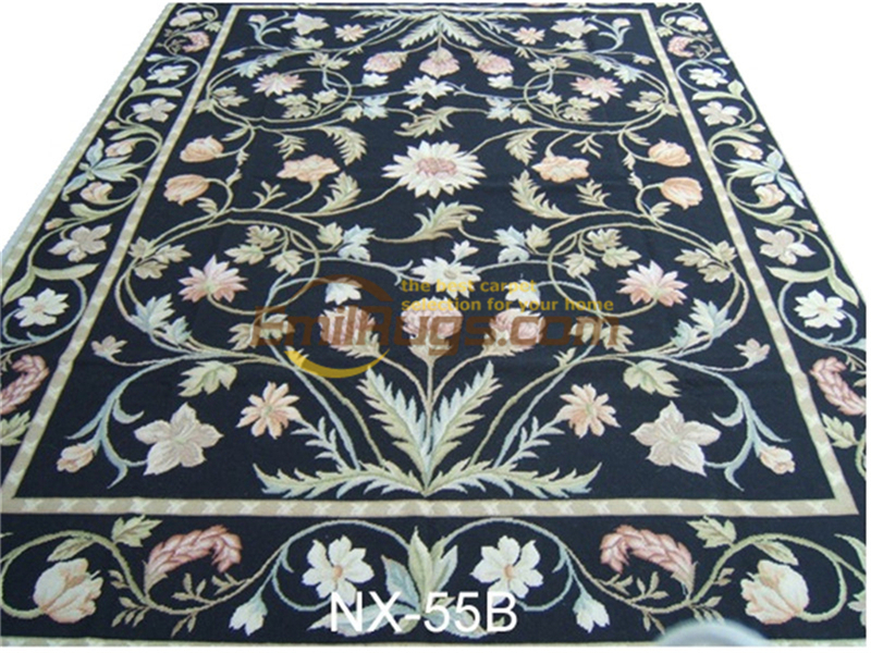Hand-stitched Floral Needled Blanket Antique Chinese Hand-made Wool Museum Wool Rug Carpet.