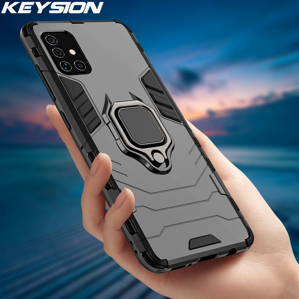 KEYSION Shockproof Armor Case for Samsung M31S M51 Ring Stand Bumper Silicone + PC Phone Back Cover for Galaxy M31 M21 M11 M01