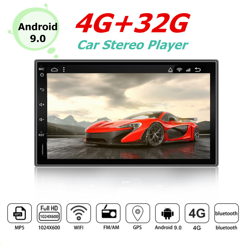 """YUEHOO 7"""" 2 DIN 4+32G Android 9.0 Car Stereo Radio MP5 Multimedia Player 8 Core Touch Screen 4G WIFI bt Car GPS Navigation"""