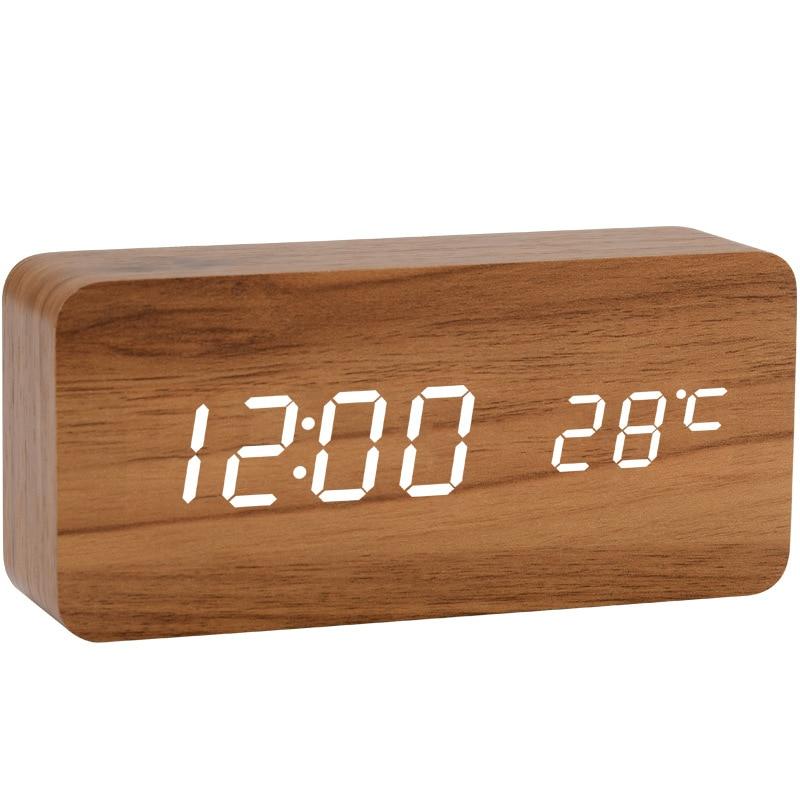 LED Wecker Zeit/datum/temperatur Digitale Bambus Holz Stimme Tischuhren Led anzeige Desktop Digitale Tabelle Uhren|Wecker|   -